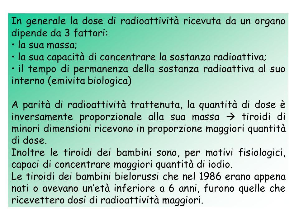 In generale la dose di radioattività ricevuta da un organo dipende da 3 fattori: la sua massa; la sua capacità di concentrare la sostanza radioattiva; il tempo di permanenza della sostanza radioattiva al suo interno (emivita biologica) A parità di radioattività trattenuta, la quantità di dose è inversamente proporzionale alla sua massa tiroidi di minori dimensioni ricevono in proporzione maggiori quantità di dose.