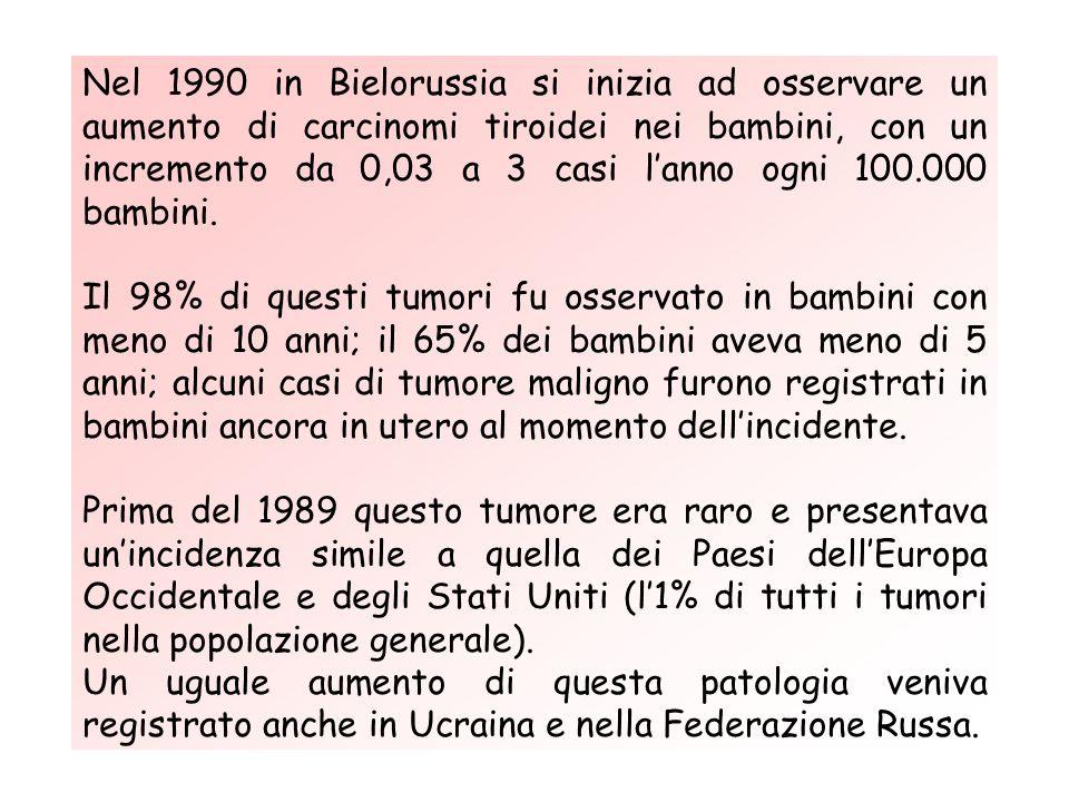 Nel 1990 in Bielorussia si inizia ad osservare un aumento di carcinomi tiroidei nei bambini, con un incremento da 0,03 a 3 casi lanno ogni 100.000 bambini.