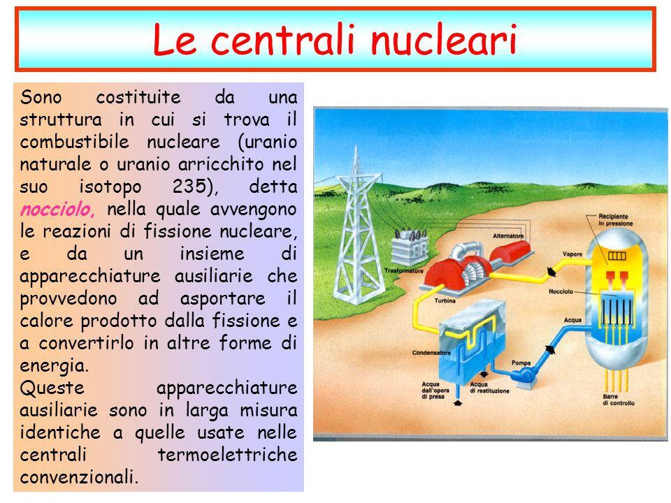 Sono costituite da una struttura in cui si trova il combustibile nucleare (uranio naturale o uranio arricchito nel suo isotopo 235), detta nocciolo, nella quale avvengono le reazioni di fissione nucleare, e da un insieme di apparecchiature ausiliarie che provvedono ad asportare il calore prodotto dalla fissione e a convertirlo in altre forme di energia.