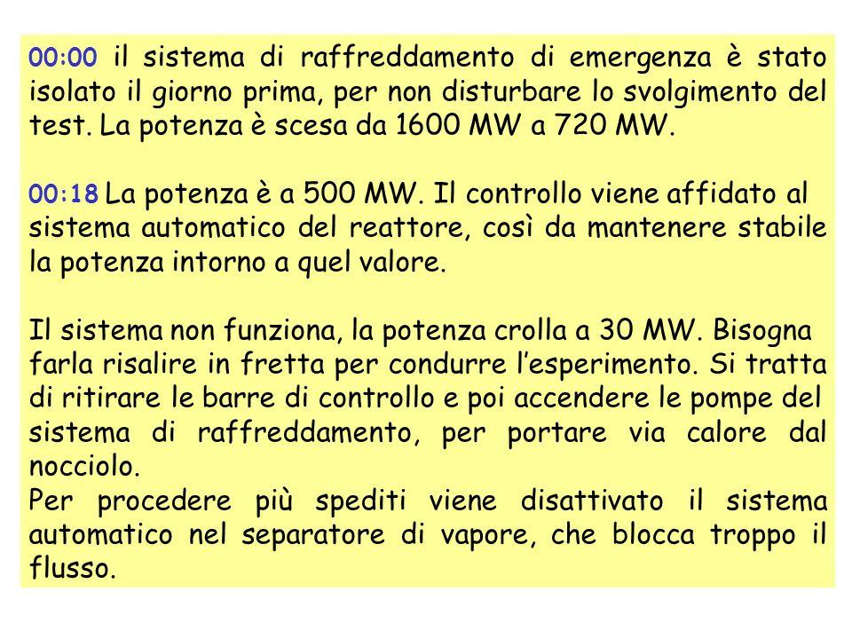 00:00 il sistema di raffreddamento di emergenza è stato isolato il giorno prima, per non disturbare lo svolgimento del test.