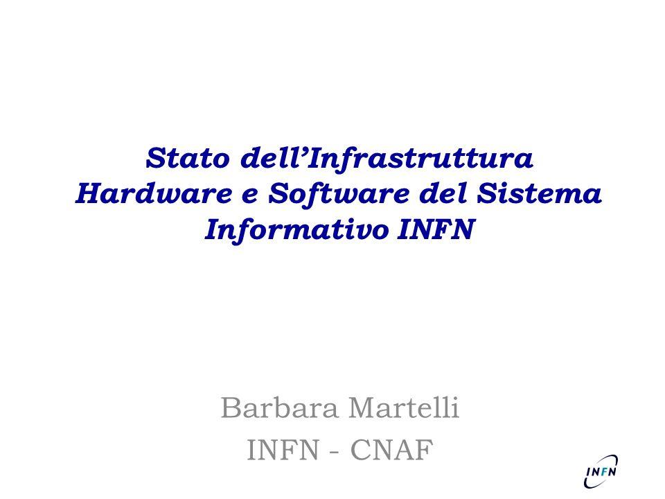 Stato dellInfrastruttura Hardware e Software del Sistema Informativo INFN Barbara Martelli INFN - CNAF