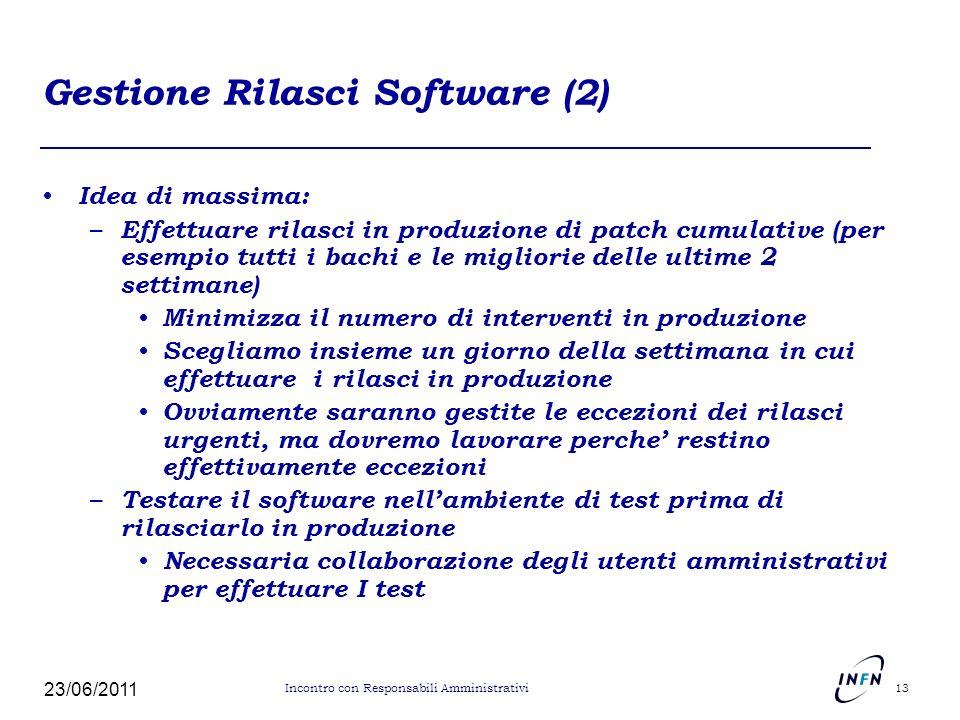 Gestione Rilasci Software (2) Idea di massima: – Effettuare rilasci in produzione di patch cumulative (per esempio tutti i bachi e le migliorie delle