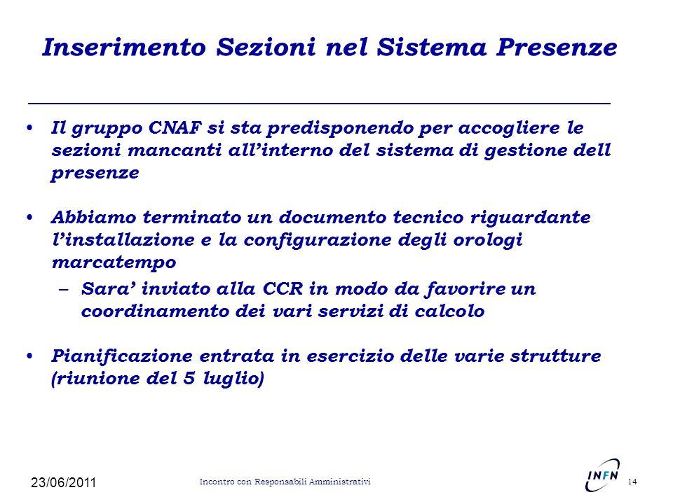 Inserimento Sezioni nel Sistema Presenze Il gruppo CNAF si sta predisponendo per accogliere le sezioni mancanti allinterno del sistema di gestione del