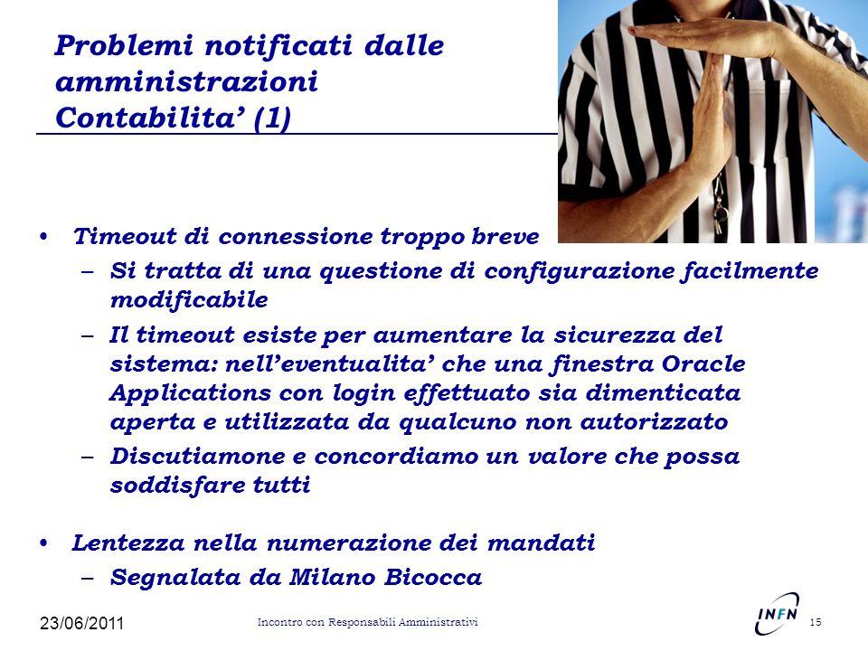 Problemi notificati dalle amministrazioni Contabilita (1) Timeout di connessione troppo breve – Si tratta di una questione di configurazione facilment