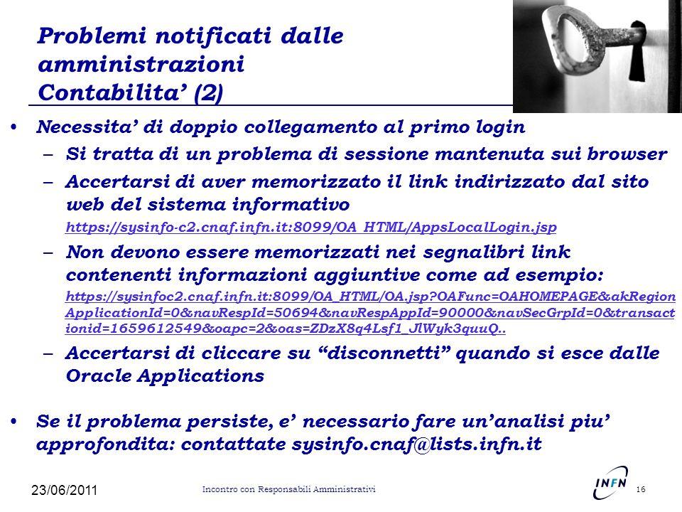 Problemi notificati dalle amministrazioni Contabilita (2) Necessita di doppio collegamento al primo login – Si tratta di un problema di sessione mante