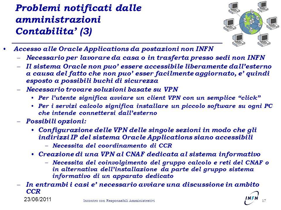 Problemi notificati dalle amministrazioni Contabilita (3) Accesso alle Oracle Applications da postazioni non INFN – Necessario per lavorare da casa o