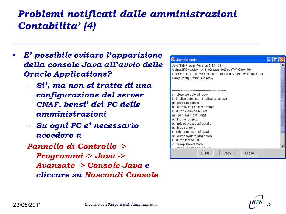 Problemi notificati dalle amministrazioni Contabilita (4) E possibile evitare lapparizione della console Java allavvio delle Oracle Applications? – Si