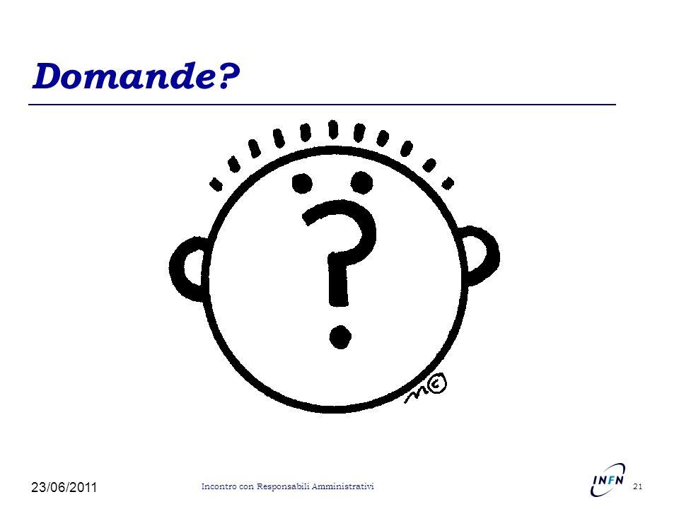 Domande? 23/06/2011 21 Incontro con Responsabili Amministrativi