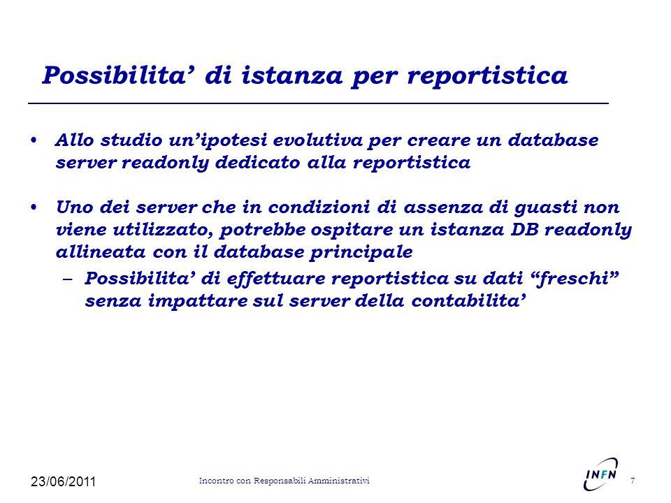 Possibilita di istanza per reportistica Allo studio unipotesi evolutiva per creare un database server readonly dedicato alla reportistica Uno dei serv
