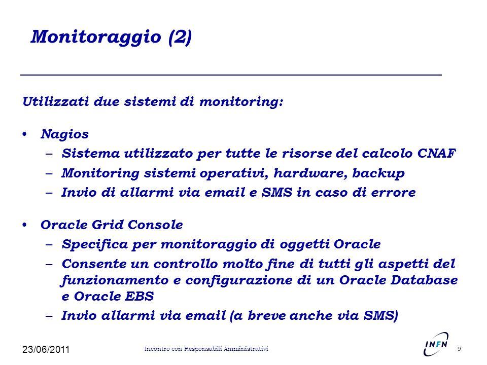 Monitoraggio (2) Utilizzati due sistemi di monitoring: Nagios – Sistema utilizzato per tutte le risorse del calcolo CNAF – Monitoring sistemi operativ