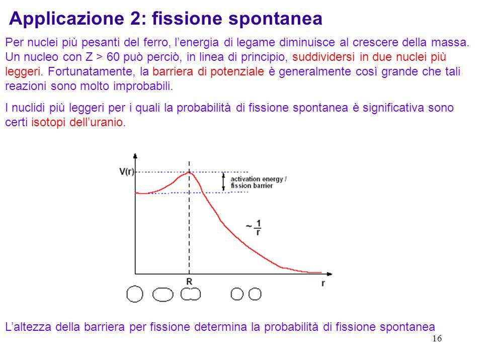 16 Applicazione 2: fissione spontanea Per nuclei più pesanti del ferro, lenergia di legame diminuisce al crescere della massa. Un nucleo con Z > 60 pu