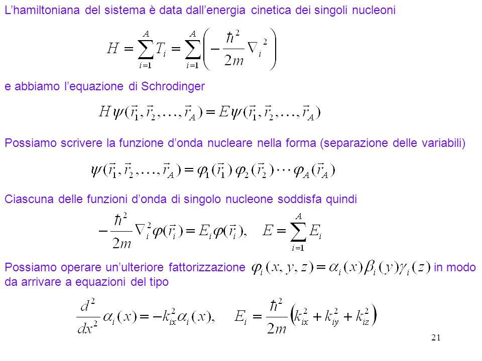 21 Lhamiltoniana del sistema è data dallenergia cinetica dei singoli nucleoni e abbiamo lequazione di Schrodinger Possiamo scrivere la funzione donda
