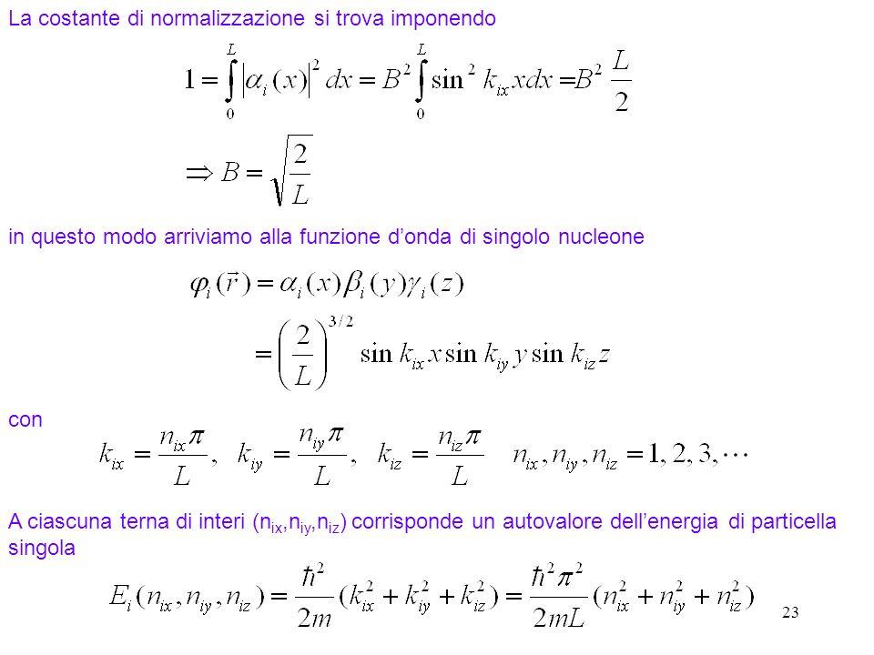 23 La costante di normalizzazione si trova imponendo in questo modo arriviamo alla funzione donda di singolo nucleone con A ciascuna terna di interi (