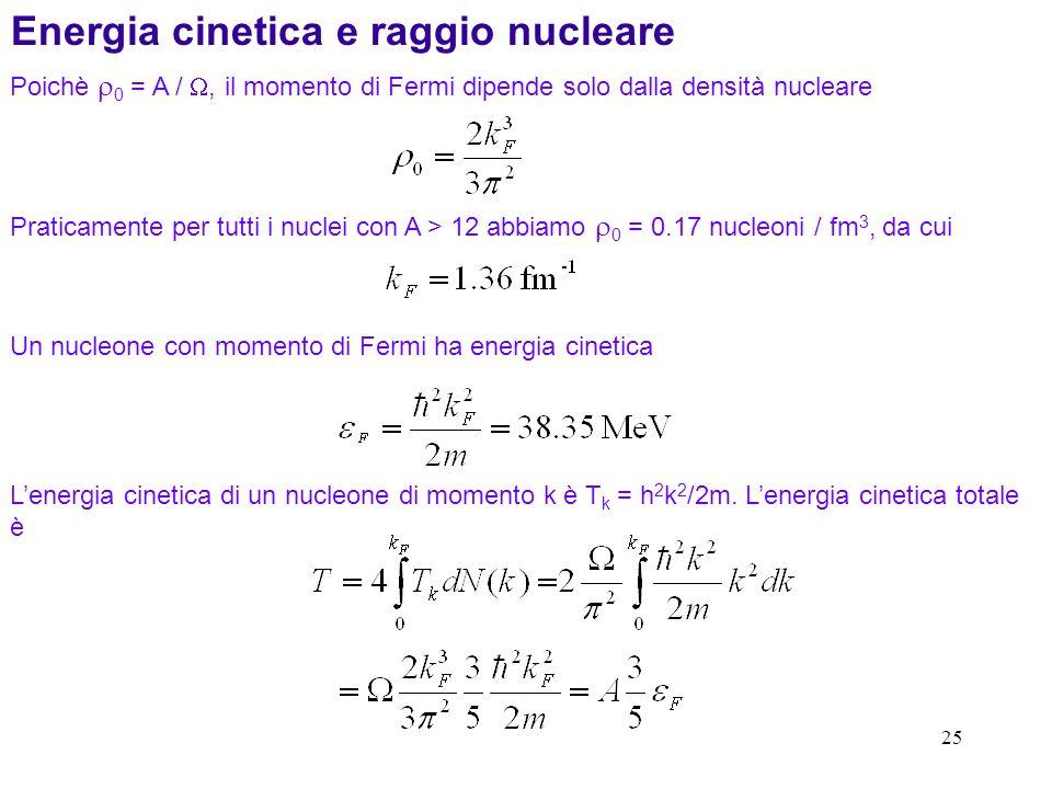 25 Poichè 0 = A /, il momento di Fermi dipende solo dalla densità nucleare Praticamente per tutti i nuclei con A > 12 abbiamo 0 = 0.17 nucleoni / fm 3