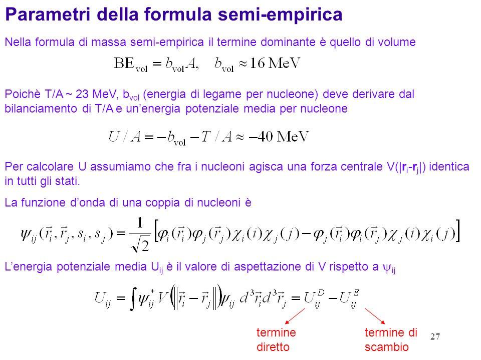 27 Poichè T/A 23 MeV, b vol (energia di legame per nucleone) deve derivare dal bilanciamento di T/A e unenergia potenziale media per nucleone Nella fo