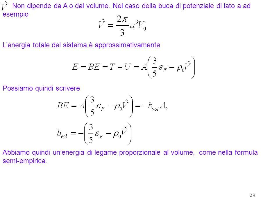29 Non dipende da A o dal volume. Nel caso della buca di potenziale di lato a ad esempio Lenergia totale del sistema è approssimativamente Abbiamo qui