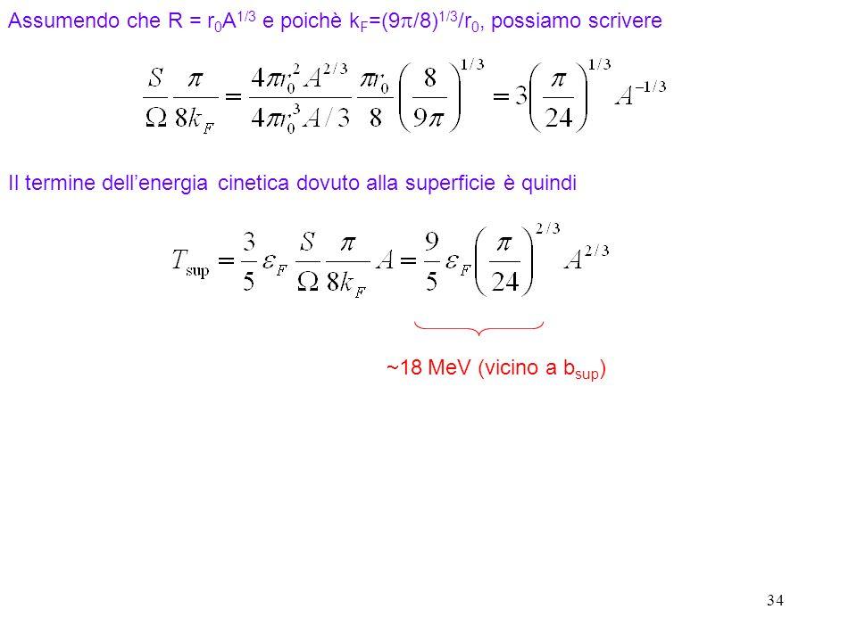 34 Il termine dellenergia cinetica dovuto alla superficie è quindi Assumendo che R = r 0 A 1/3 e poichè k F =(9 /8) 1/3 /r 0, possiamo scrivere 18 MeV