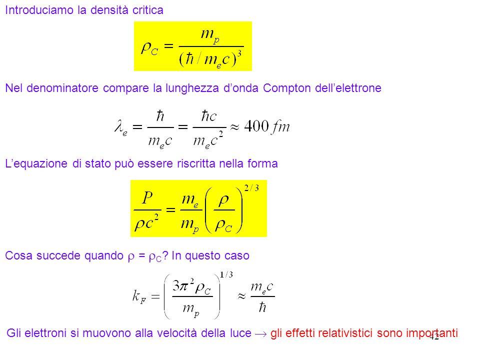 42 Introduciamo la densità critica Nel denominatore compare la lunghezza donda Compton dellelettrone Lequazione di stato può essere riscritta nella fo