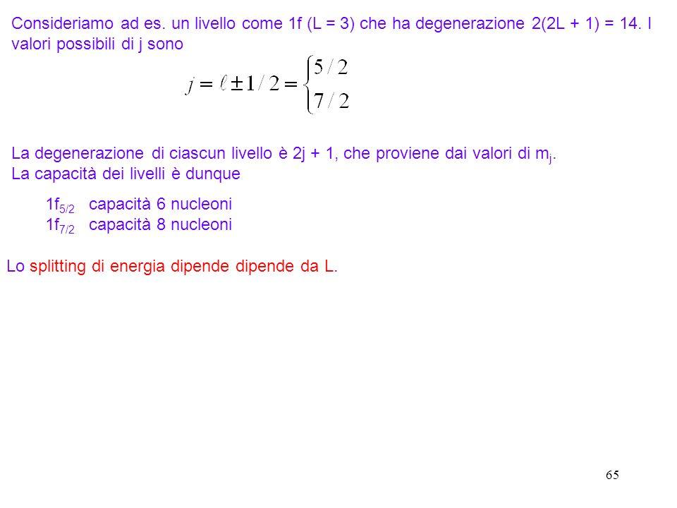 65 Consideriamo ad es. un livello come 1f (L = 3) che ha degenerazione 2(2L + 1) = 14. I valori possibili di j sono La degenerazione di ciascun livell