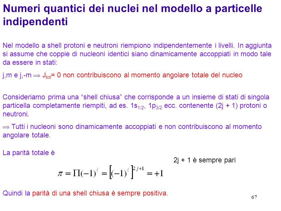 67 Numeri quantici dei nuclei nel modello a particelle indipendenti Consideriamo prima una shell chiusa che corrisponde a un insieme di stati di singo