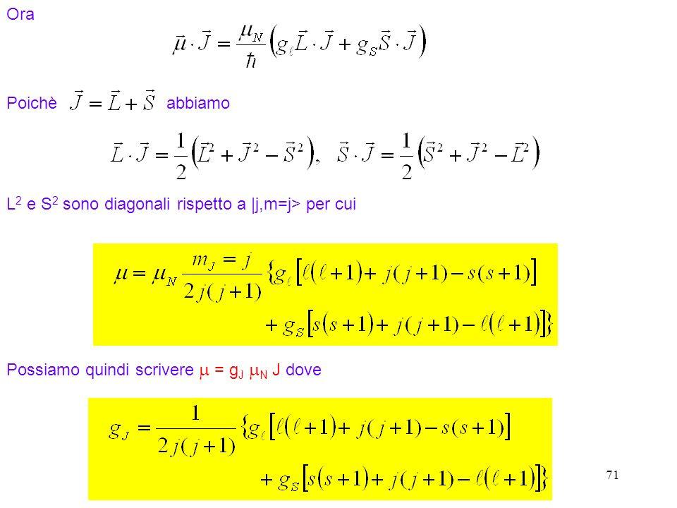 71 Ora Poichè abbiamo Possiamo quindi scrivere = g J N J dove L 2 e S 2 sono diagonali rispetto a  j,m=j> per cui