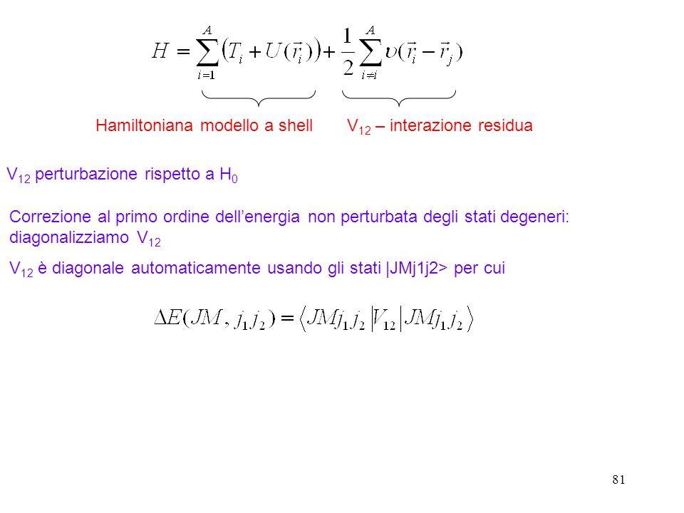 81 Hamiltoniana modello a shellV 12 – interazione residua V 12 perturbazione rispetto a H 0 Correzione al primo ordine dellenergia non perturbata degl