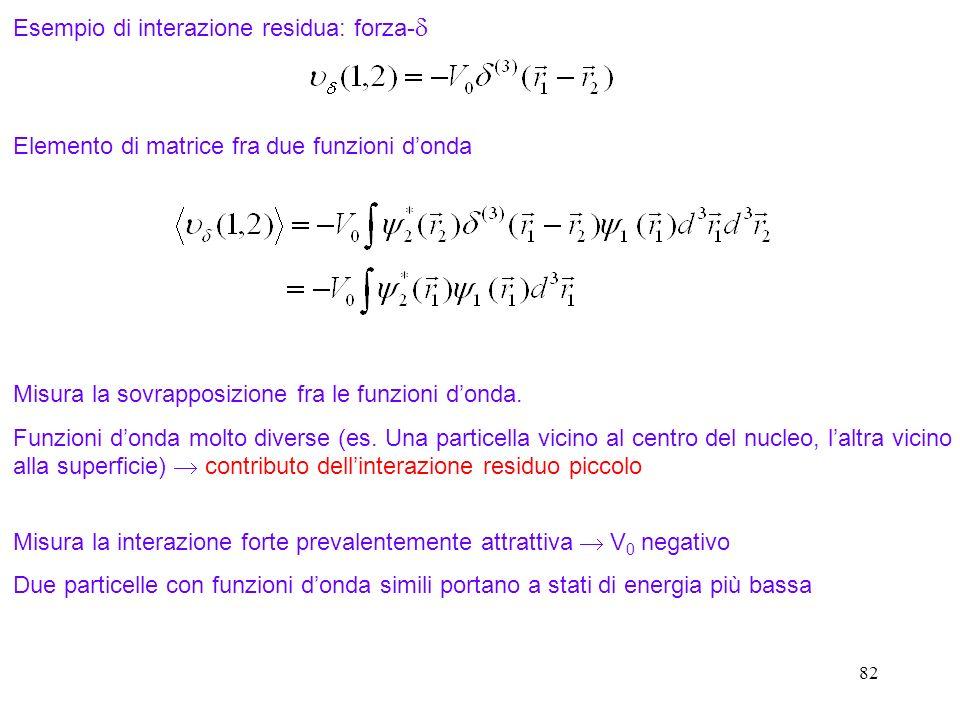 82 Esempio di interazione residua: forza- Elemento di matrice fra due funzioni donda Misura la sovrapposizione fra le funzioni donda. Funzioni donda m