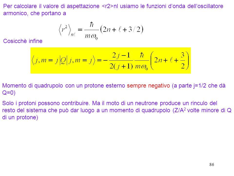 86 Per calcolare il valore di aspettazione nl usiamo le funzioni donda delloscillatore armonico, che portano a Cosicchè infine Momento di quadrupolo c