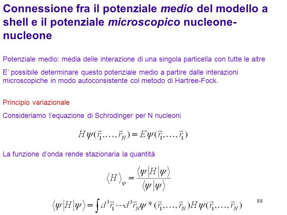 88 Connessione fra il potenziale medio del modello a shell e il potenziale microscopico nucleone- nucleone Potenziale medio: media delle interazione d