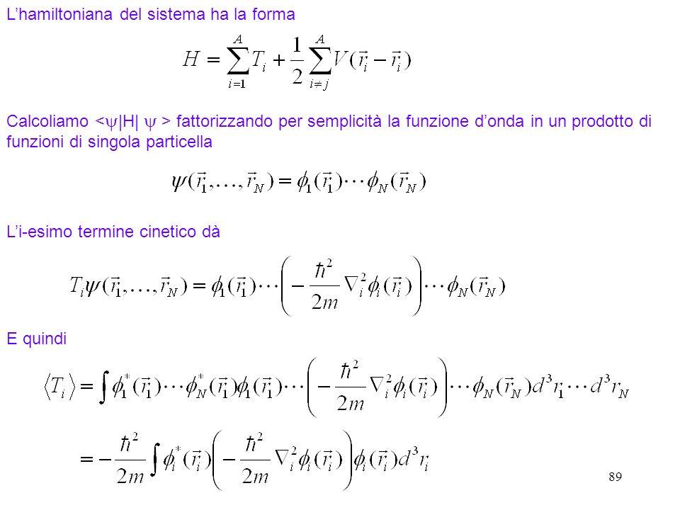 89 Calcoliamo fattorizzando per semplicità la funzione donda in un prodotto di funzioni di singola particella Lhamiltoniana del sistema ha la forma Li