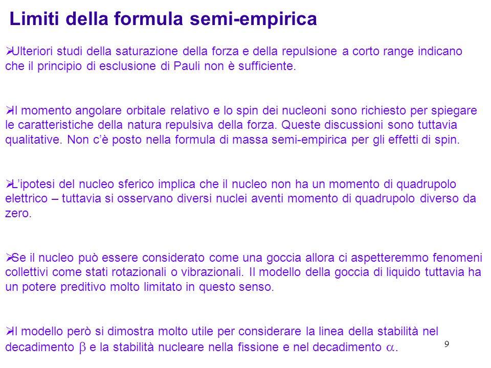 9 Limiti della formula semi-empirica Ulteriori studi della saturazione della forza e della repulsione a corto range indicano che il principio di esclu