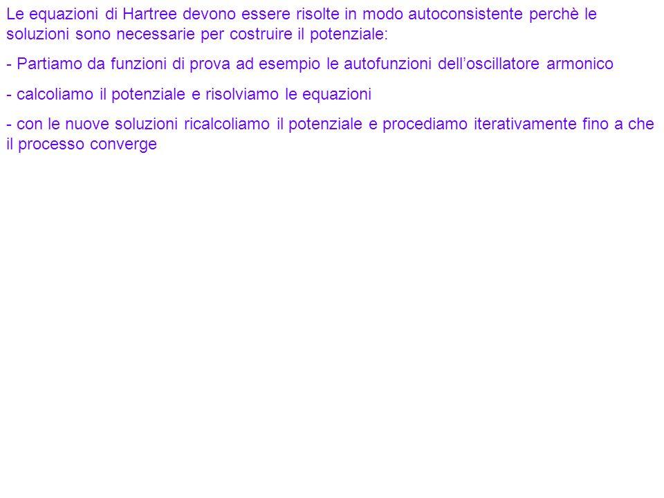 93 Le equazioni di Hartree devono essere risolte in modo autoconsistente perchè le soluzioni sono necessarie per costruire il potenziale: - Partiamo d