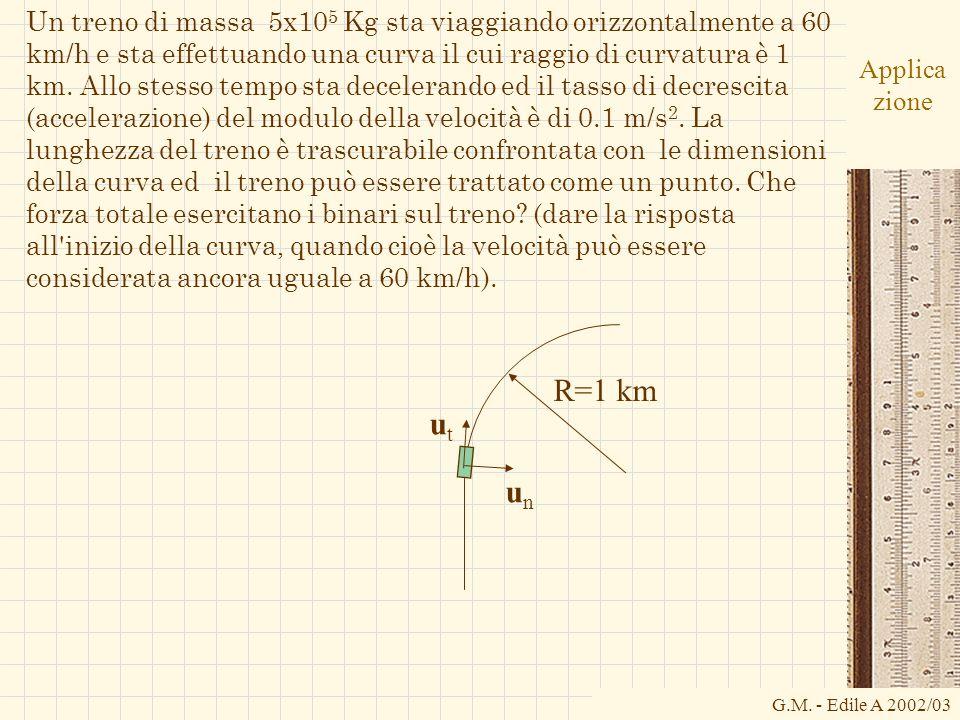 G.M. - Edile A 2002/03 Applica zione Un treno di massa 5x10 5 Kg sta viaggiando orizzontalmente a 60 km/h e sta effettuando una curva il cui raggio di