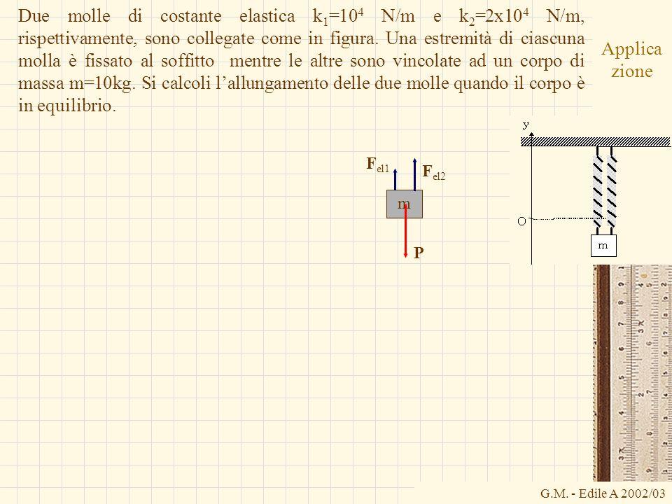 G.M. - Edile A 2002/03 Applica zione Due molle di costante elastica k 1 =10 4 N/m e k 2 =2x10 4 N/m, rispettivamente, sono collegate come in figura. U