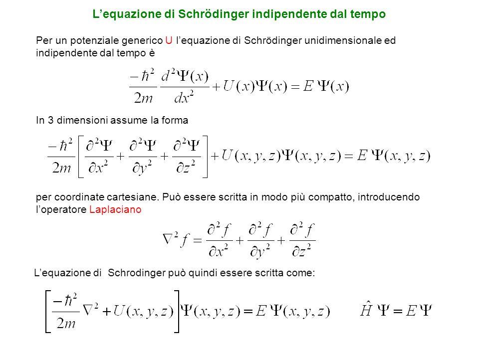 Per un potenziale generico U lequazione di Schrödinger unidimensionale ed indipendente dal tempo è In 3 dimensioni assume la forma per coordinate cart