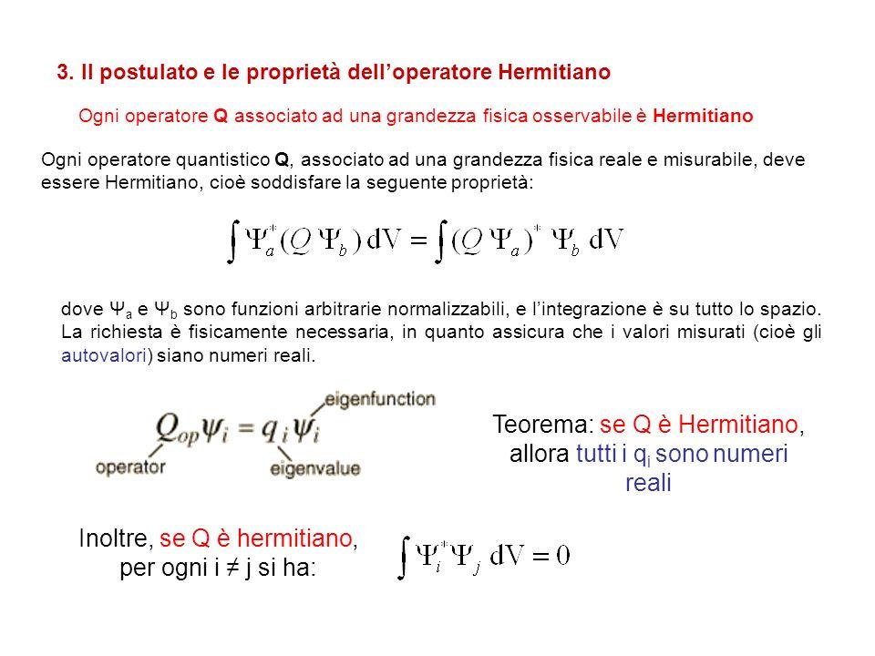 Ogni operatore Q associato ad una grandezza fisica osservabile è Hermitiano 3. Il postulato e le proprietà delloperatore Hermitiano Ogni operatore qua