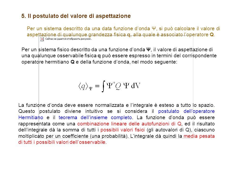 Per un sistema descritto da una data funzione donda Ψ, si può calcolare il valore di aspettazione di qualunque grandezza fisica q, alla quale è associ