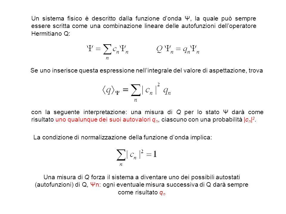 Un sistema fisico è descritto dalla funzione donda Ψ, la quale può sempre essere scritta come una combinazione lineare delle autofunzioni delloperator