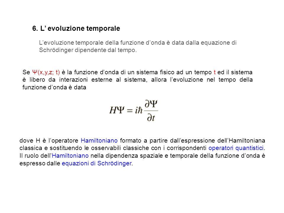 Levoluzione temporale della funzione donda è data dalla equazione di Schrödinger dipendente dal tempo. 6. L evoluzione temporale Se Ψ(x,y,z; t) è la f