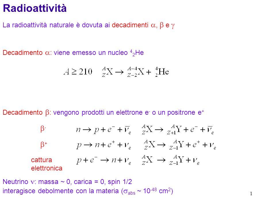 1 Radioattività La radioattività naturale è dovuta ai decadimenti, e Decadimento : viene emesso un nucleo 4 2 He Decadimento : vengono prodotti un ele
