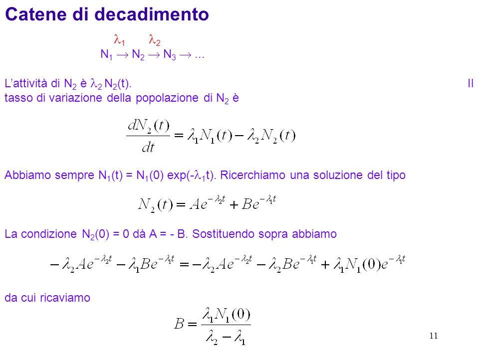 11 Catene di decadimento 1 2 N 1 N 2 N 3... Lattività di N 2 è 2 N 2 (t). Il tasso di variazione della popolazione di N 2 è Abbiamo sempre N 1 (t) = N