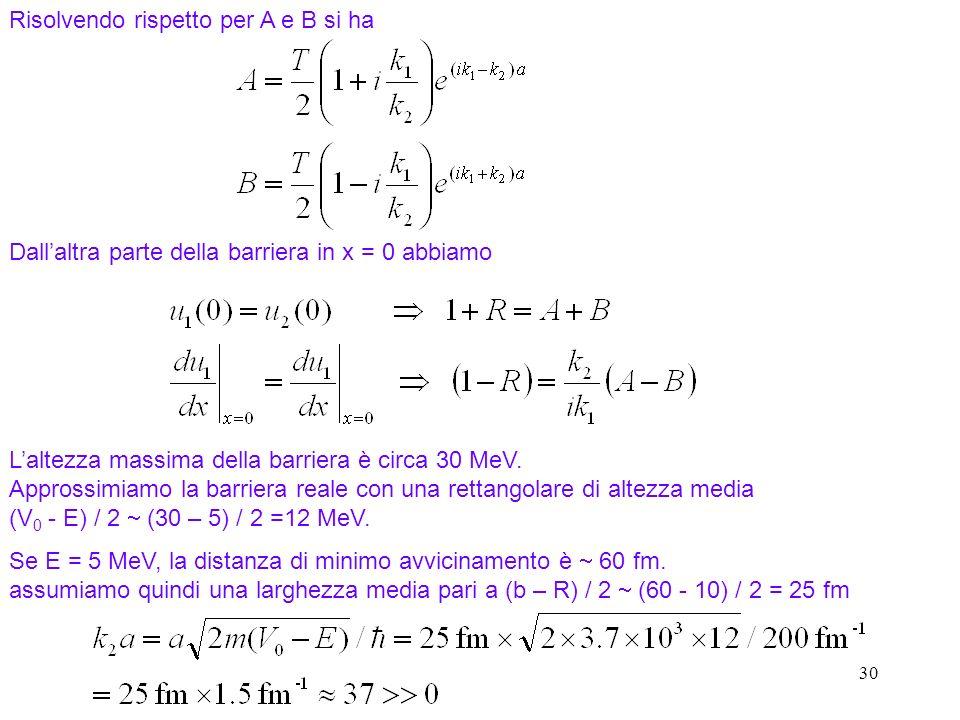 30 Risolvendo rispetto per A e B si ha Dallaltra parte della barriera in x = 0 abbiamo Laltezza massima della barriera è circa 30 MeV. Approssimiamo l