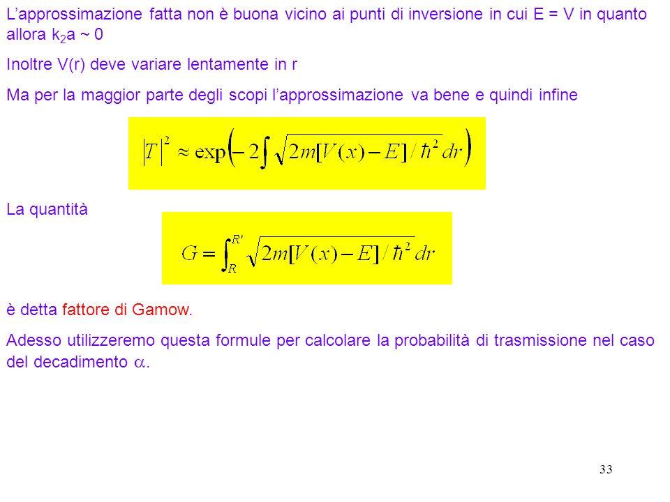 33 La quantità è detta fattore di Gamow. Adesso utilizzeremo questa formule per calcolare la probabilità di trasmissione nel caso del decadimento. Lap