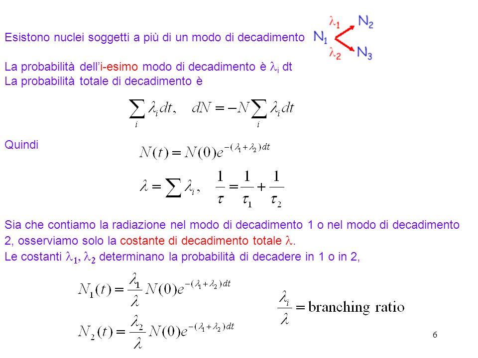 27 Quando consideriamo il moto della particella nel potenziale del nucleo figlio abbiamo a che fare con un problema di forza centrale per r > R.