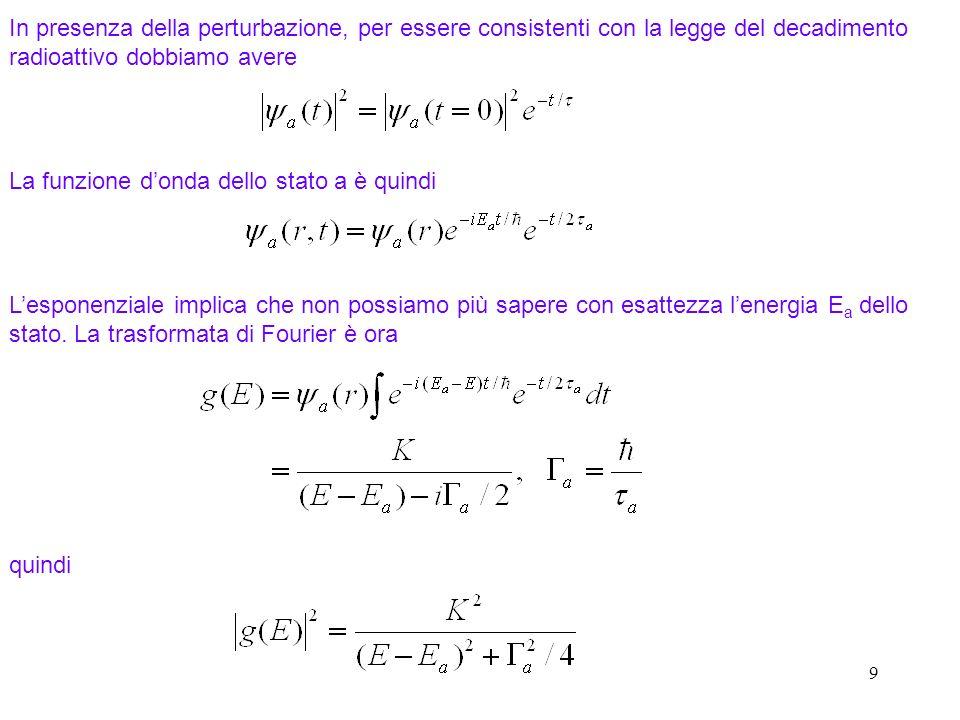 9 La funzione donda dello stato a è quindi Lesponenziale implica che non possiamo più sapere con esattezza lenergia E a dello stato. La trasformata di