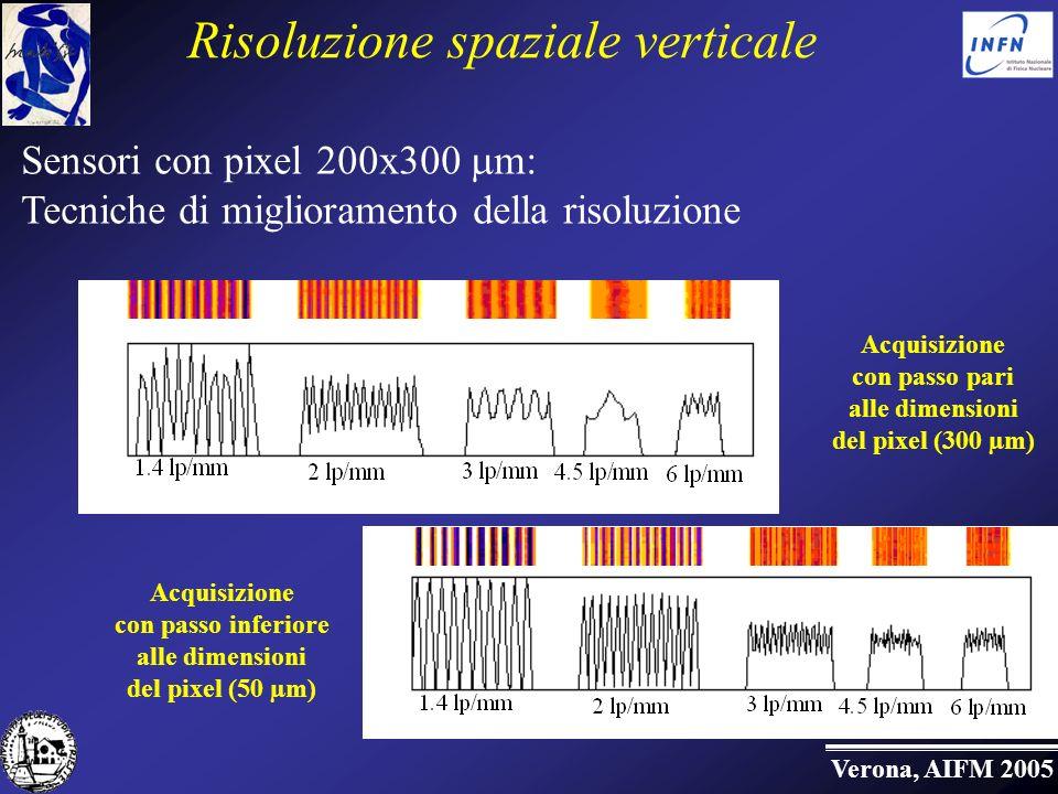 Verona, AIFM 2005 Risoluzione spaziale verticale Acquisizione con passo pari alle dimensioni del pixel (300 µm) Acquisizione con passo inferiore alle dimensioni del pixel (50 µm) Sensori con pixel 200x300 m: Tecniche di miglioramento della risoluzione