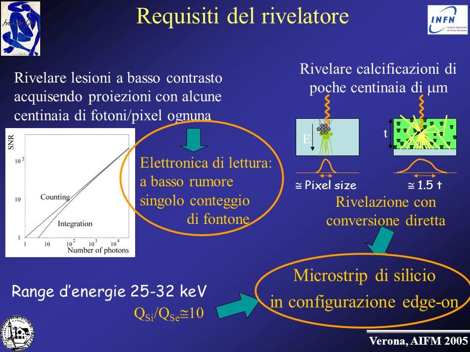 Verona, AIFM 2005 Requisiti del rivelatore Elettronica di lettura: a basso rumore singolo conteggio di fontone Rivelare calcificazioni di poche centinaia di m Rivelazione con conversione diretta Range denergie 25-32 keV Microstrip di silicio in configurazione edge-on Rivelare lesioni a basso contrasto acquisendo proiezioni con alcune centinaia di fotoni/pixel ognuna Q Si /Q Se 10 1.5 t t Pixel size E