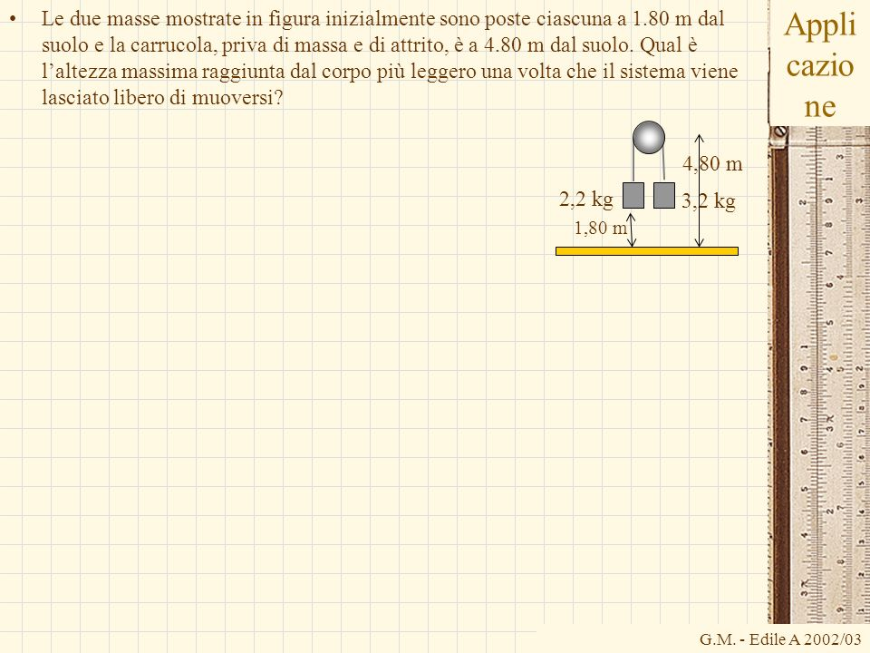 G.M. - Edile A 2002/03 Appli cazio ne Le due masse mostrate in figura inizialmente sono poste ciascuna a 1.80 m dal suolo e la carrucola, priva di mas