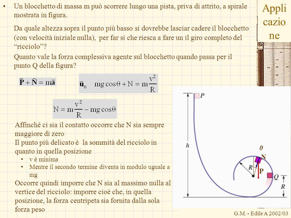 G.M. - Edile A 2002/03 Appli cazio ne Un blocchetto di massa m può scorrere lungo una pista, priva di attrito, a spirale mostrata in figura. Da quale