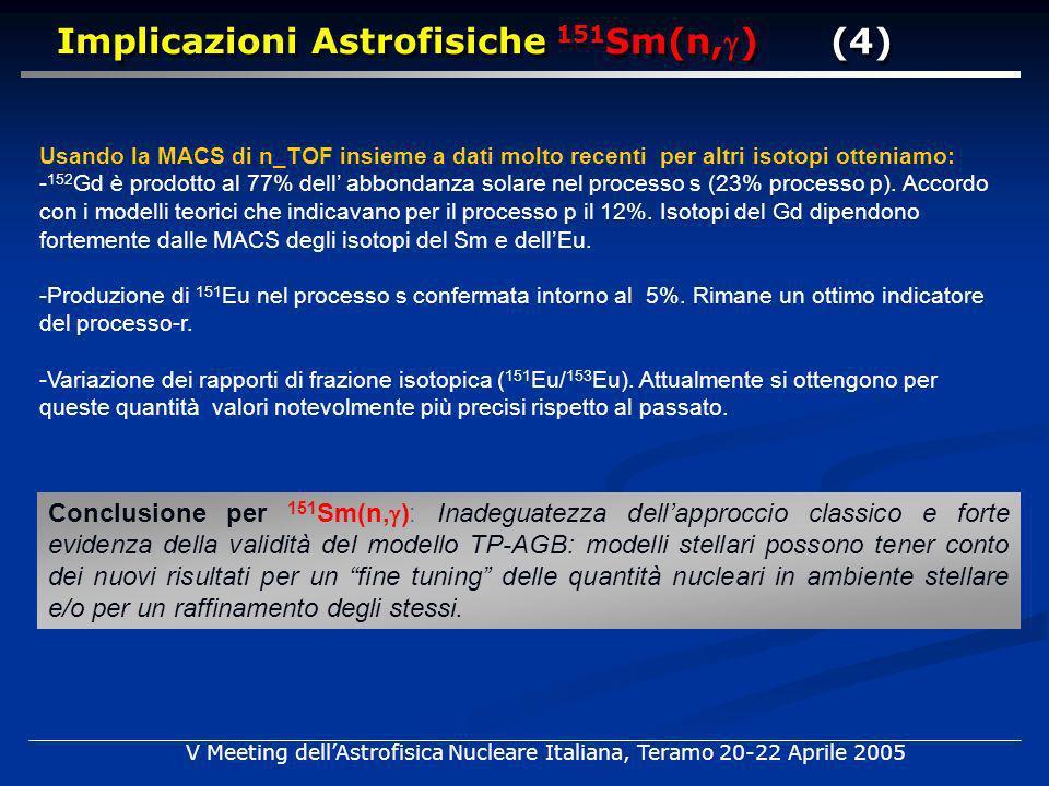 Usando la MACS di n_TOF insieme a dati molto recenti per altri isotopi otteniamo: - 152 Gd è prodotto al 77% dell abbondanza solare nel processo s (23% processo p).